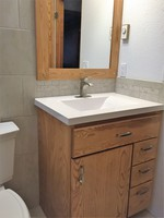 Thumb vanity  contemporary style  ash  light color  slab door  single sink  full overlay