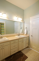 Thumb vanity  traditional style  painted  raised panel  double sinks  bank of drawers  5 piece drawer fronts  standard overlay