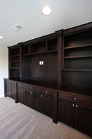 Thumb great room  craftsman style western maple  dark color  wainscot panel doors  full overlay  square posts  legs  columns  center opening for tv  wire panel doors  bookcase  entertainment center  full overlay