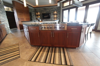 Thumb kitchen  contemporary style  sapele  medium color  angled island  full overlay