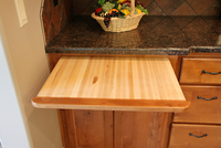 Thumb kitchen  craftsman style  knotty alder  recessed panel  medium color  bread board   10 edge  standard overlay