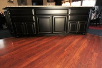 Thumb kitchen  traditional style  black painted  raised panel with  8 edge  feet  metal nailheads on doors