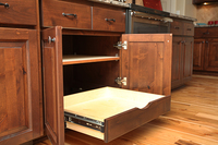 Thumb kitchen  traditional style  knotty alder  medium color  raised panel  standard overlay  rollout with shelf