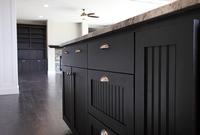 Thumb kitchen  traditional style  painted black  wainscot doors  full overlay