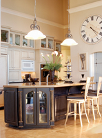 Thumb kitchen  traditional style  painted  accent color  black  island with sand through  half arch glass doors  posts  standard overlay